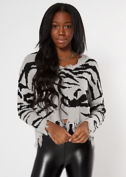 Gray Zebra Print Destructed Cropped Sweater