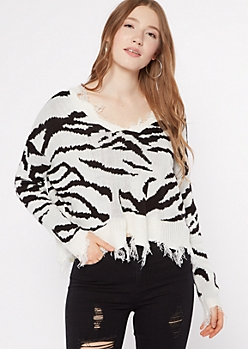 Zebra Print Destructed Cropped Sweater