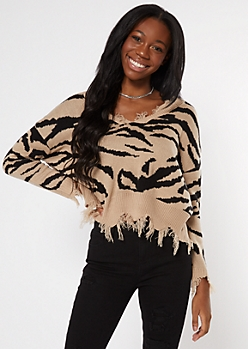 Taupe Zebra Print Destructed Cropped Sweater