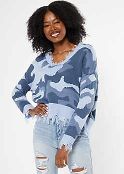 Blue Camo Print Destructed Cropped Sweater