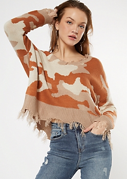 Orange Camo Print Destructed Cropped Sweater