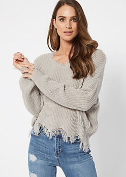 Gray High Low Distressed Sweater