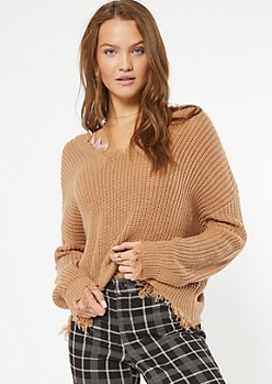 Taupe Scalloped Hem Distressed Sweater