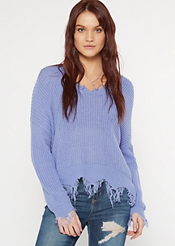 Blue Scalloped Hem Distressed Sweater