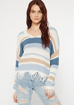 Blue Striped Scalloped Hem Distressed Sweater