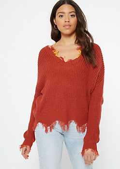 Dark Red Scalloped Hem Distressed Sweater