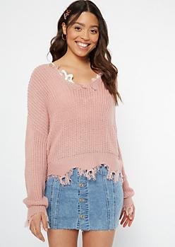 Pink Scalloped Hem Distressed Sweater