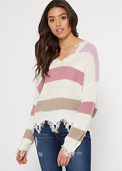 Lilac Striped Scalloped Hem Distressed Sweater