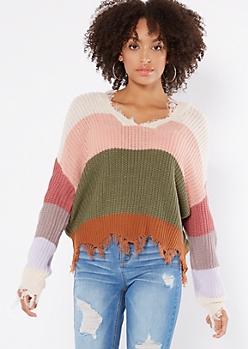 Olive Striped Scalloped Hem Distressed Sweater