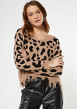 Taupe Leopard Print Distressed Cropped Sweater