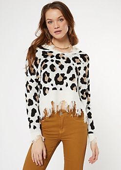 White Leopard Print Distressed Cropped Sweater