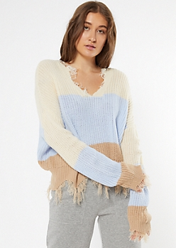 Light Blue Striped Boxy Fringe Distressed Sweater