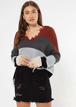 Burnt Orange Striped Boxy Fringe Distressed Sweater