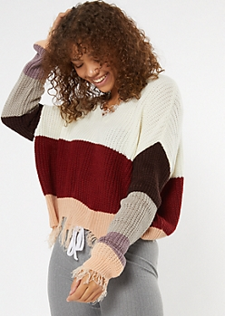 Burgundy Striped Boxy Fringe Distressed Sweater