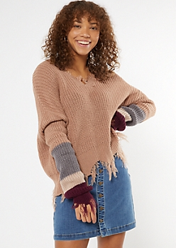 Taupe Striped Sleeve Fringe Distressed Sweater