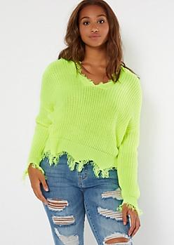 Neon Yellow Scalloped Hem Distressed Sweater