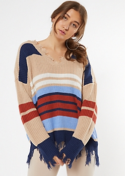 Taupe Striped Frayed Oversized Sweater