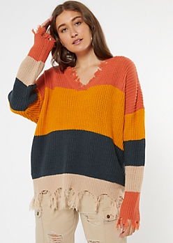 Orange Striped Frayed Oversized Sweater