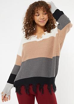 White Striped Frayed Oversized Sweater