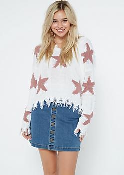 White Star Frayed Hem Skimmer Sweater