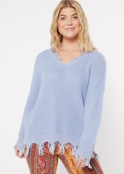 Blue Fringed V Neck Sweater