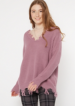 Purple Fringed V Neck Sweater
