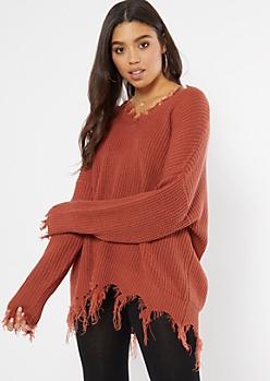Dark Mauve Fringed V Neck Sweater