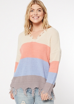Periwinkle Striped Fringed V Neck Sweater