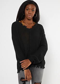 Black Cutout Bubble Sleeve Sweater