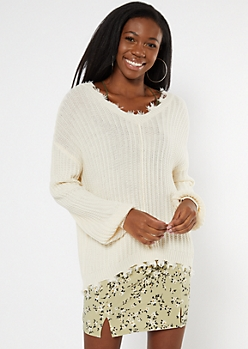 Ivory Cutout Bubble Sleeve Sweater