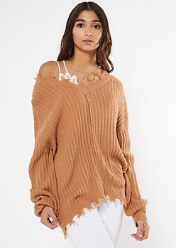 Camel Cutout Bubble Sleeve Sweater