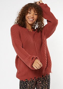Brick Red Cutout Bubble Sleeve Sweater
