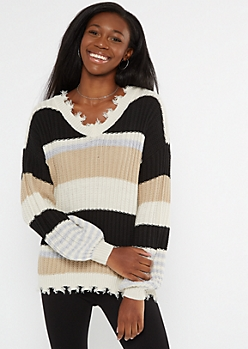 Black Striped Cutout Bubble Sleeve Sweater