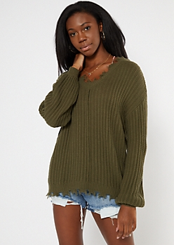 Olive Cutout Bubble Sleeve Sweater