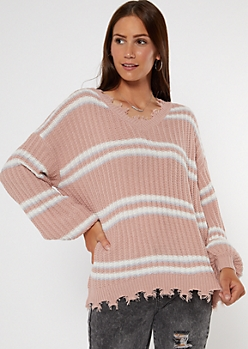 Pink Striped Cutout Bubble Sleeve Sweater