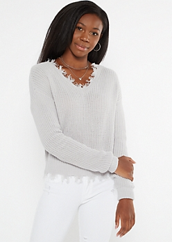 Gray Frayed Hem Skimmer Sweater