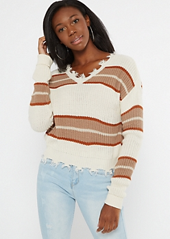 Taupe Colorblock Frayed Hem Skimmer Sweater