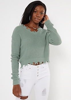 Sage Green Frayed Hem Skimmer Sweater
