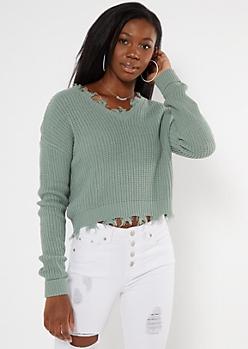 Sage Green Frayed Hem Skimmer Sweater