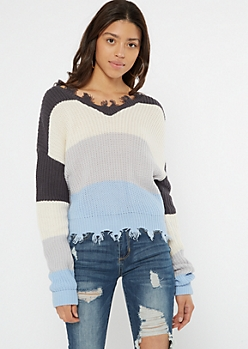 Blue Colorblock Frayed Hem Skimmer Sweater