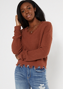 Burnt Orange Frayed Hem Skimmer Sweater