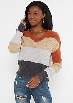 Burnt Orange Colorblock Frayed Hem Skimmer Sweater