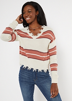 Pink Colorblock Frayed Hem Skimmer Sweater