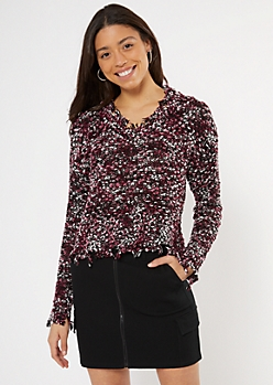 Purple Confetti Textured Knit Sweater
