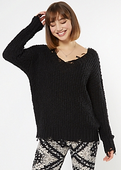 Black Distressed Textured Knit Sweater