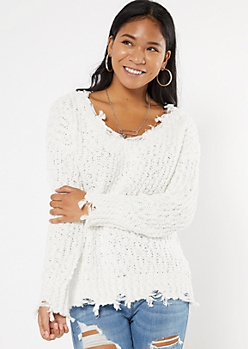 Ivory Distressed Textured Knit Sweater