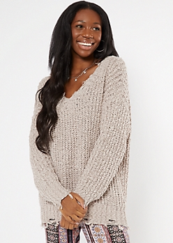 Taupe Distressed Textured Knit Sweater