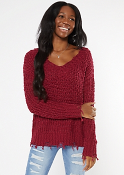 Burgundy Distressed Textured Knit Sweater