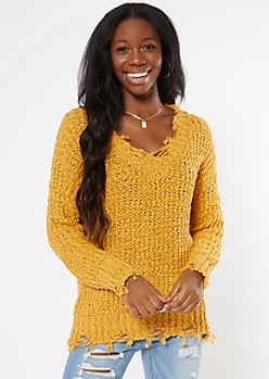 Gold Distressed Textured Knit Sweater