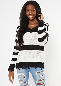 Black Striped Distressed Textured Knit Sweater